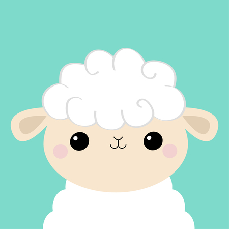 Sheep lamb face head icon. Cloud shape. Cute cartoon kawaii funny smiling baby character. Nursery decoration. Sweet dreams. Flat design. Blue background. Isolated. Vector illustration
