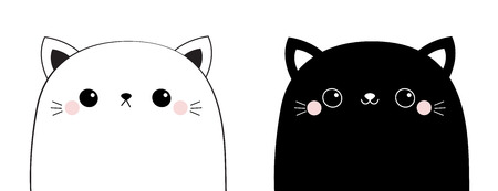 Black white cat head face line contour silhouette icon set. Pink blush cheeks. Funny kawaii smiling animal. Cute cartoon funny character. Pet collection. Flat design Baby background. Vector Illustration