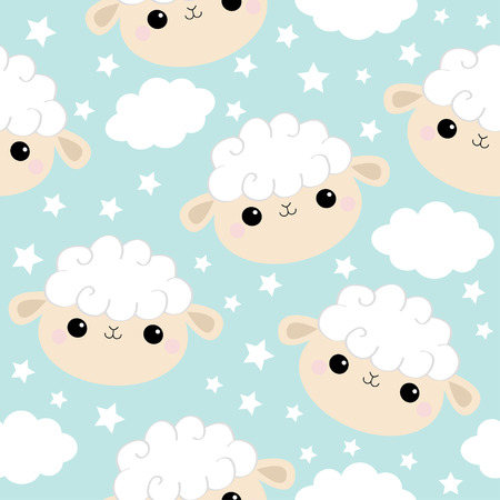 Seamless Pattern. Sheep face head icon. Cloud star in the sky.Cute cartoon kawaii funny smiling baby character. Wrapping paper, textile print. Nursery decoration. Blue background. Flat design. Vector