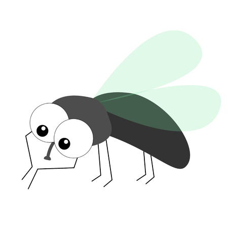 Housefly cleaning and polishing front paw legs. Fly flying insect icon. Baby kids collection. Colorful wings. Cute cartoon kawaii funny character. Smiling face. Flat design. White background. Vector