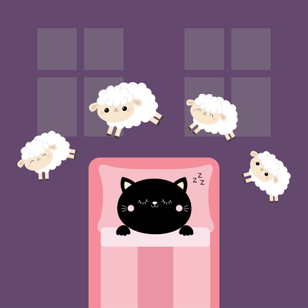 Black cat sleeping. Jumping sheeps. Cant sleep going to bed concept. Counting sheep. Cute cartoon kawaii baby animal set. Blanket pillow room two windows. Flat design. Violet background. Vector
