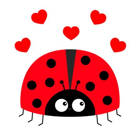 Icono de mariquita mariquita. Tarjeta de felicitación de amor con corazón rojo. Personaje de dibujos animados lindo kawaii bebé divertido. Feliz día de San Valentín. Diseño plano. Fondo blanco. Ilustración vectorial Ilustración de vector