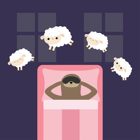 Lazy sloth in sleeping mask. Jumping sheeps. Cant sleep going to bed concept. Counting sheep. Cute cartoon kawaii baby animal set. Blanket pillow room two windows. Flat design Violet background Vector