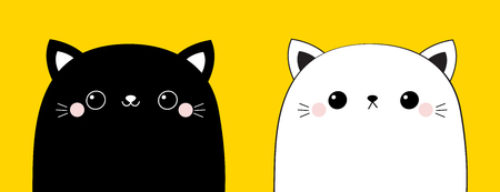 Black and white cat head face line contour silhouette icon set. Pink blush cheeks. Funny kawaii smiling baby animal. Cute cartoon funny character. Pet collection. Flat design Yellow background. Vector