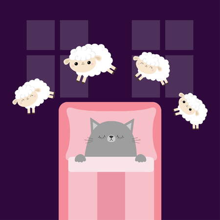 Gray cat sleeping. Jumping sheeps. Cant sleep going to bed concept. Counting sheep. Cute cartoon kawaii baby animal set. Blanket pillow room two windows. Flat design. Violet background. Vector