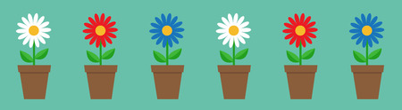 Daisy chamomile in pot line. Cute flower plant collection. Love card. White red blue camomile icon set Growing concept. Flat design. Green background. Isolated. Vector illustration