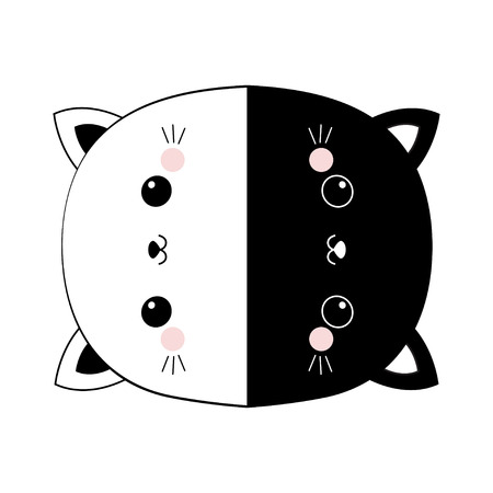 Black and white cat set round icon. Head face line contour silhouette. Pink blush cheeks. Funny kawaii smiling animal. Cute cartoon funny character. Pet collection. Flat design Baby background. Vector Ilustração