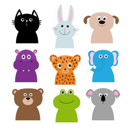 Animal head face body set. Cat, rabbit, hare, jaguar, dog hippopotamus elephant bear frog koala. Cute cartoon character. Babykids children education. Flat design. Isolated. White background. Vector