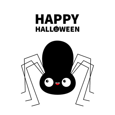 Happy Halloween. Black spider silhouette. Cute cartoon kawaii baby character. Long paws. Funny insect. Big eyes. Flat design. Pumpkin. White background. Isolated. Vector illustration
