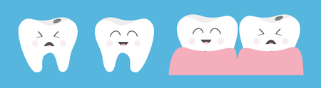 Healthy smiling tooth gum icon set line. Crying bad ill teeth caries care, gum. Cute cartoon kawaii funny character. Oral dental hygiene. Baby background. Flat design. Vector illustration Standard-Bild - 121092224