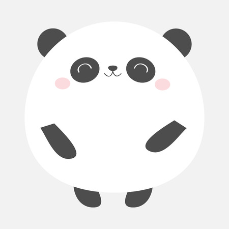 Panda bear round icon. Black and white. Kawaii animal. Cute cartoon character. Funny baby face with eyes, nose, ears. Kids print. Love Greeting card. Flat design. Gray background. Isolated. Vector Standard-Bild - 121391588