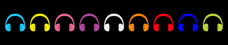 Headphones earphones icon set line. Colorful rainbow silhouette. Music card. Flat design style. White background. Isolated. Vector illustration