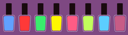 Pink blue, green, yellow nail polish varnish icon set line. Flat design. Violet background. Isolated. Fashion Template. Vector illustration