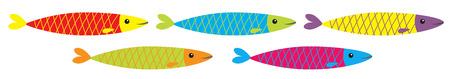Sardine colorful fish icon set line. Iwashi. Sardina pilchardus. Cute cartoon character. Anchovy pilchard. Marine life. Water animal. Flat design. White background. Isolated. Vector illustration