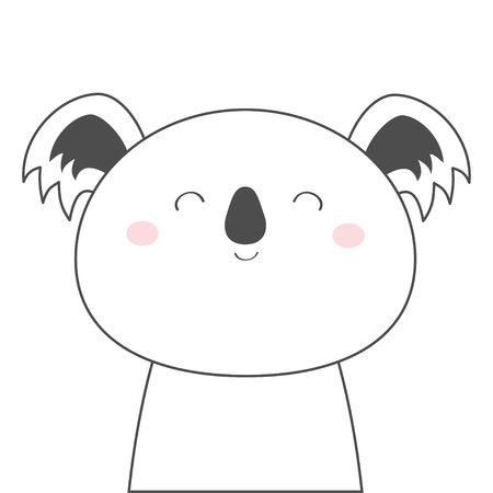 Koala bear face head line sketch icon. Kawaii animal. Cute cartoon character. Funny baby with eyes, nose, ears. Kids print. Love Greeting card. Flat design. White background. Isolated. Vector