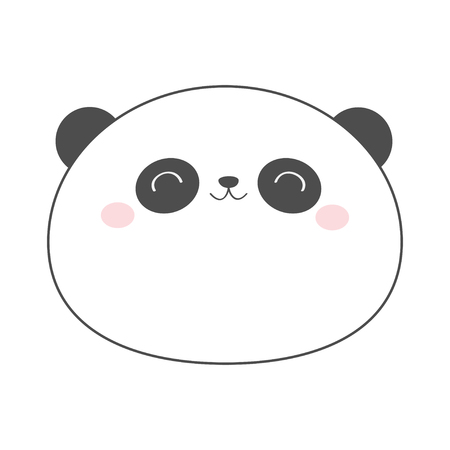 Panda bear round face head sketch line icon. Kawaii animal. Cute cartoon character. Funny baby with eyes, nose, ears. Kids print. Love Greeting card. Flat design. White background. Isolated. Vector Standard-Bild - 121391659
