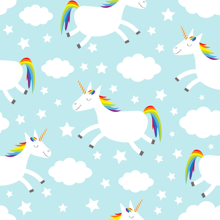 Seamless Pattern. Unicorn jumping. Cloud star in the sky. Cute cartoon kawaii funny smiling baby character. Wrapping paper, textile template. Nursery decoration Blue background Flat design Vector