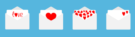 Four envelope with red hearts set line. Happy Valentines Day. Love card. Flat design. Blue background. Isolated. Vector illustration