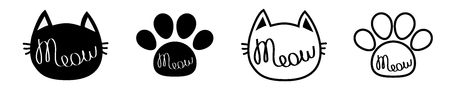 Black cat head. Meow lettering contour text. Paw print. Cute cartoon character silhouette icon set line. Kawaii animal. Baby pet collection. Sign Symbol. Flat design White background. Isolated. Vector Ilustração