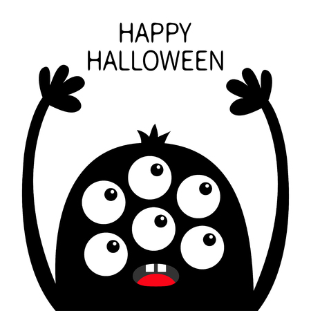 Happy Halloween. Monster head black silhouette. Six eyes, teeth tongue, hands up. Cute kawaii cartoon funny character. Baby kids collection. Flat design. White background. Isolated. Vector