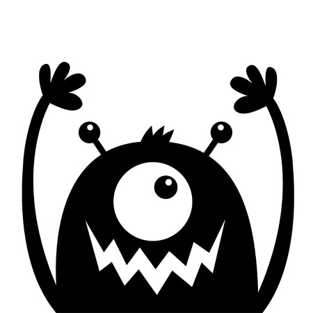 Monster head black silhouette. One eye, teeth fang mouth, horns, hands up. Cute kawaii cartoon funny character. Happy Halloween. Baby kids collection. Flat design. White background. Isolated. Vector Ilustração