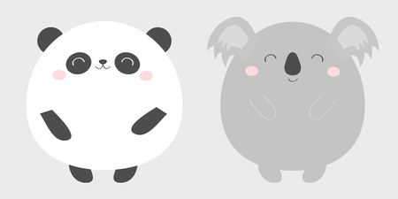 Panda Koala bear round icon set. Black and white. Kawaii animal. Cute cartoon character. Funny baby face with eyes, nose, ears. Kids print. Love Greeting card. Flat design. Gray background. Vector