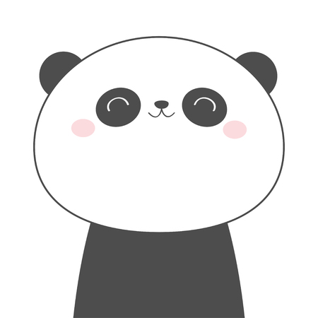 Panda bear face head line sketch icon. Kawaii animal. Cute cartoon character. Funny baby with eyes, nose, ears. Kids print. Love Greeting card. Flat design. White background. Isolated. Vector Иллюстрация