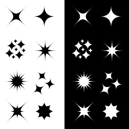 Stars Sparkles sign symbol shape set. Cute collection. Decoration element. Black and white background. Flat design. Vector illustration