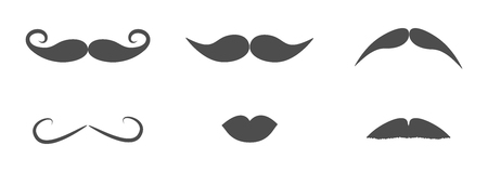Mustaches and lips icon set line. Moustaches hair. Flat design. White background. Isolated. Vector illustration