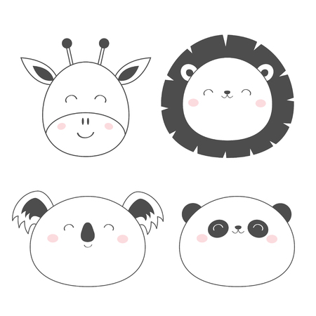 Giraffe Lion Koala Panda bear round face head sketch line icon set. Cute cartoon character. Kawaii animal. Funny baby kids print. Love Greeting card. Flat design. White background. Isolated. Vector
