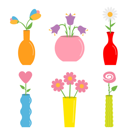 Flower in vase. Cute colorful icon set. Ceramic Pottery Glass decoration template. White background. Isolated. Flat design. Vector illustration