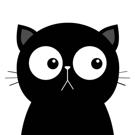 Black sad cat head face with big eyes. Cute cartoon kawaii funny character. Pet baby print collection. Flat design. White background. Isolated. Vector illustration Illustration