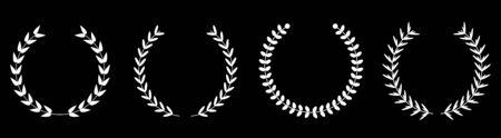 Silhouette round laurel foliate wheat wreaths line set. Award concept. Flat design. Black background. Isolated. Vector illustration