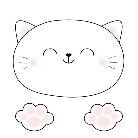 Cat head face. Linear silhouette icon. Paw print leg foot pink pads. Contour line. Cute cartoon kawaii kitty character. Funny baby kitten. Love Greeting card. Flat design. White background. Vector