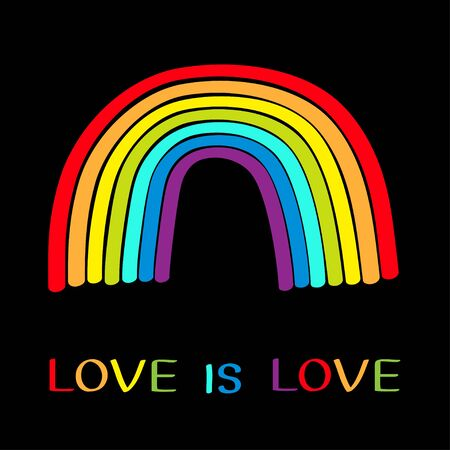 Rainbow on black background. Colorful line set. Greeting card. Love is love text quote. LGBT community. Flat design. Vector illustration