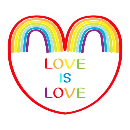 Two ainbow set on white background. Red haert. Colorful line set. Greeting card. Love is love text quote. LGBT community. Flat design. Vector illustration