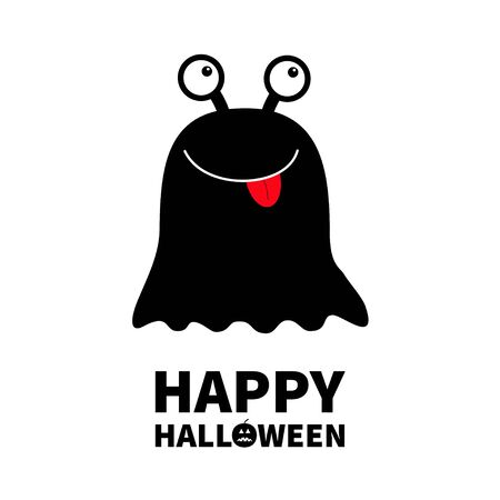 Happy Halloween. Monster black round silhouette. Two eyes, red tongue. Cute cartoon scary funny character. Baby collection. White background. Isolated. Flat design. Vector illustration