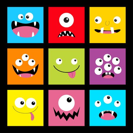 Monster head set. Square head. Boo Spooky Screaming smiling sad face emotion. Three eyes, tongue, teeth fang, mouse.Happy Halloween card. Flat design style. Black background. Vector illustration