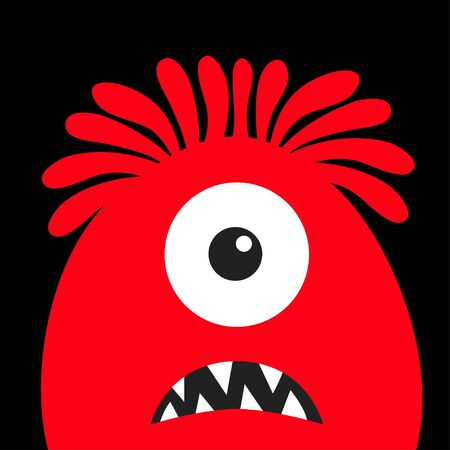 Monster head red silhouette. One eye, hair, teeth fang. Happy Halloween. Cute cartoon kawaii funny character. Baby kids collection. Flat design. Black background. Vector illustration