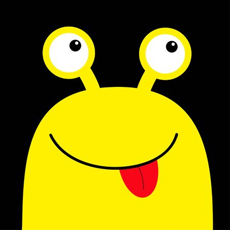 Monster head yellow silhouette. Happy Halloween. Two eyes, face showing tongue. Cute cartoon kawaii funny character. Baby kids collection. Flat design. Black background. Vector illustration