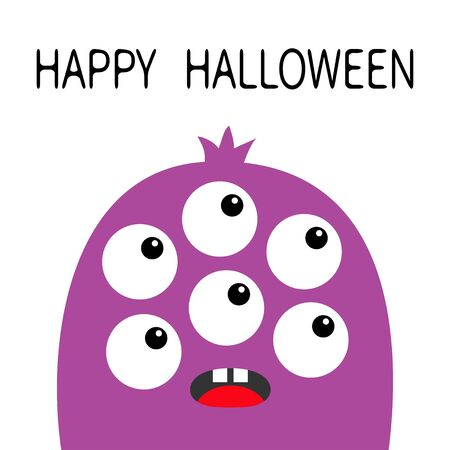 Happy Halloween. Monster head violet silhouette. Six eyes, teeth, tongue. Cute kawaii cartoon funny character. Baby kids collection. White background. Isolated. Flat design. Vector illustrator Stock Illustratie