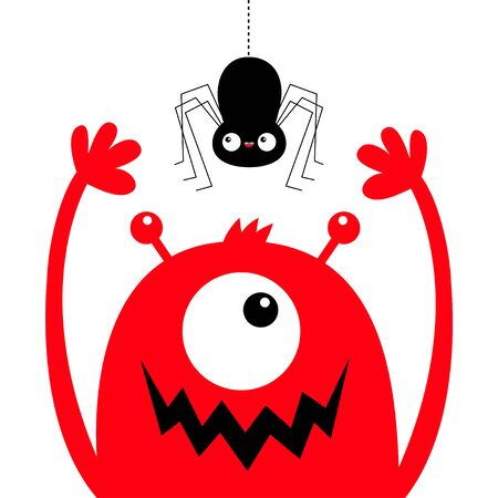 Monster head face red silhouette. Hanging spider. One eye, teeth fang mouth, horns, hands up. Cute kawaii cartoon funny baby character. Happy Halloween. Flat design. White background. Vector