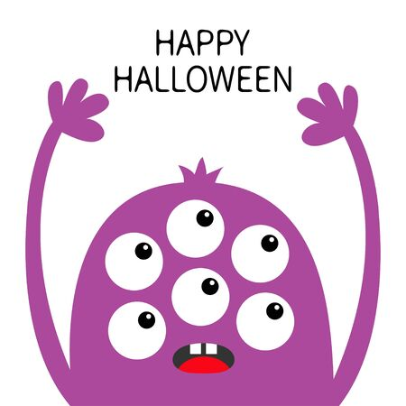 Happy Halloween. Monster head violet silhouette. Six eyes, teeth tongue, hands up. Cute kawaii cartoon funny character. Baby kids collection. Flat design. White background. Isolated. Vector Ilustrace