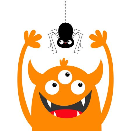 Hanging spider. Monster head orange silhouette. Three eyes, teeth fang, horns, hands up. Cute kawaii cartoon funny baby character. Happy Halloween.Flat design. White background. Vector illustration
