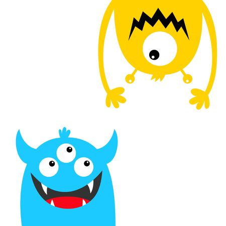 Funny monster set. Face head blue yellow silhouette. Eyes teeth fang tongue hands. Hanging upside down. Cute cartoon kawaii baby character. Happy Halloween. Flat design. White background. Vector Ilustrace