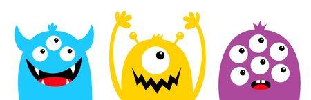 Monster head face colorful silhouette set line. Eyes, teeth fang, horns, hands up. Cute cartoon kawaii funny baby kids character. Happy Halloween. Flat design White background. Isolated. Vector