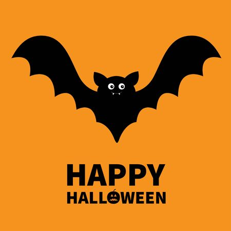 Happy Halloween. Bat flying black silhouette icon. Cute cartoon baby character with big open wing, eyes, ears. Forest animal. Flat design. Orange background. Isolated Greeting card Vector illustration