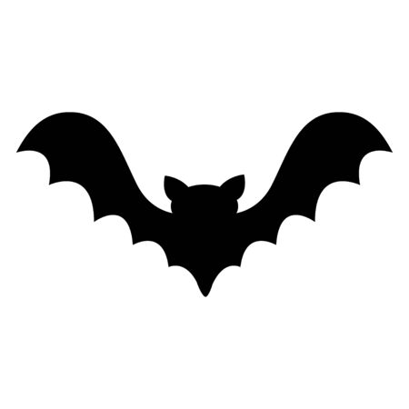 Bat flying black silhouette icon. Cute cartoon baby character with big open wing. Happy Halloween. Forest animal. Flat design. White background. Isolated. Greeting card. Vector illustration