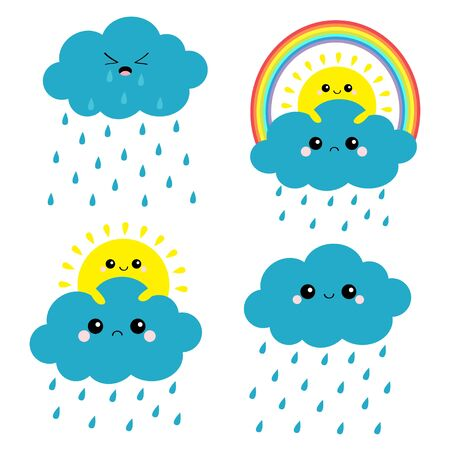 Sun, cloud, rainbow, rain set. Smiling sad face. Rain drop weather. Friends forever. Fluffy clouds. Cute cartoon cloudscape. Cloudy weather sign symbols. Flat design White background Isolated. Vector