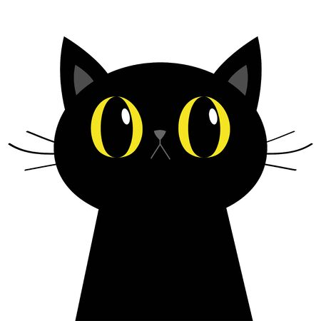 Black cat silhouette. Big yellow eyes. Moustaches. Cute cartoon character. Baby pet animal collection. Happy Halloween. Flat design. Orange background. Vector illustration